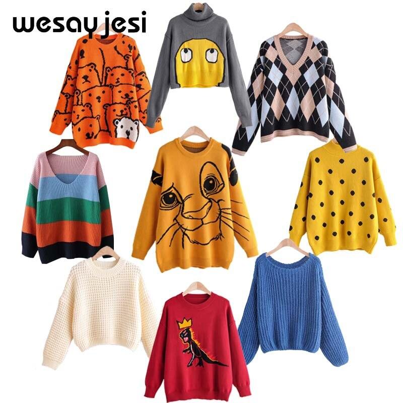 Lion King Print Sweater Women 2019 Autumn Winter Causal Streetwear Sweater Long Sleeve O Neck Loose Harajuku Sweater Female Top