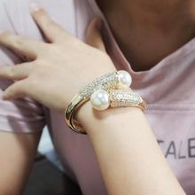 MANILAI Golden Silver Color Alloy Cuff Bracelets Charm Imitation Pearls Bracelets Bangles For Women Jewelry 2019 Accessories cheap Zinc Alloy geometric Light Yellow Gold Color BL680 TRENDY Channel Setting Simulated-pearl Perfectly Round Fashion Gold Silver
