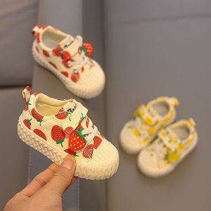 Image 5 - Baby shoes 1 3 years old soft soled canvas shoes Strawberry shoes toddler shoes girls shoes 2019 autumn new