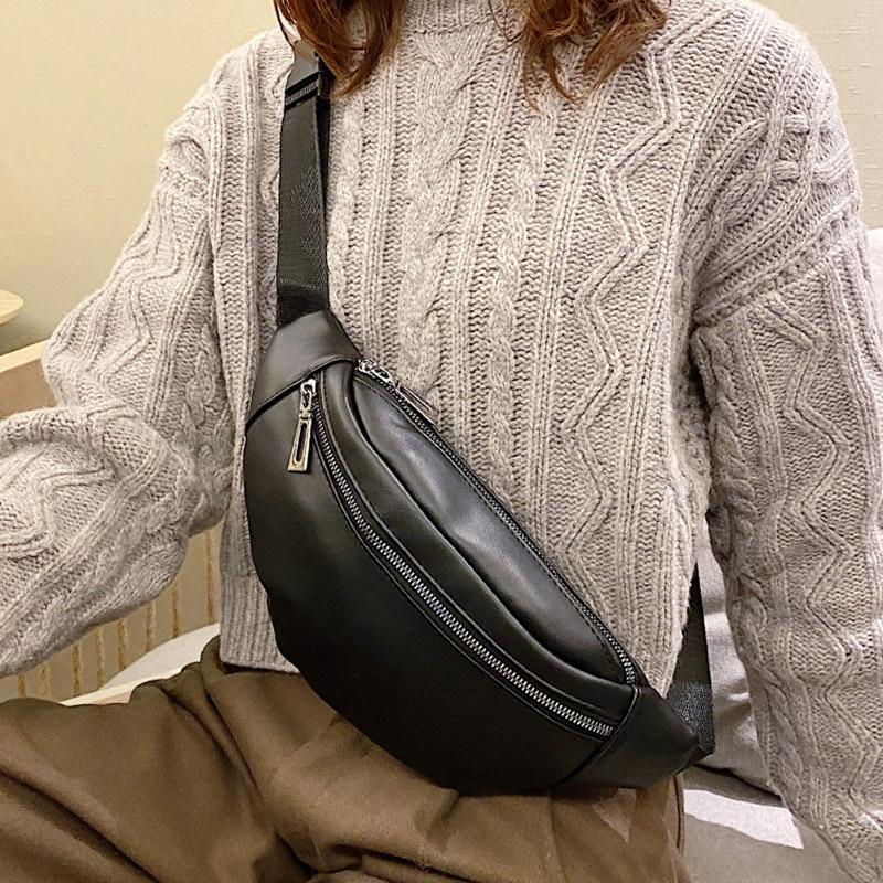 Women's Fashion Waist Belt Bag PU Leather Fanny Pack Chest Bag Designer Simple Shoulder Bags Banana Waist Packs Phone Pocket