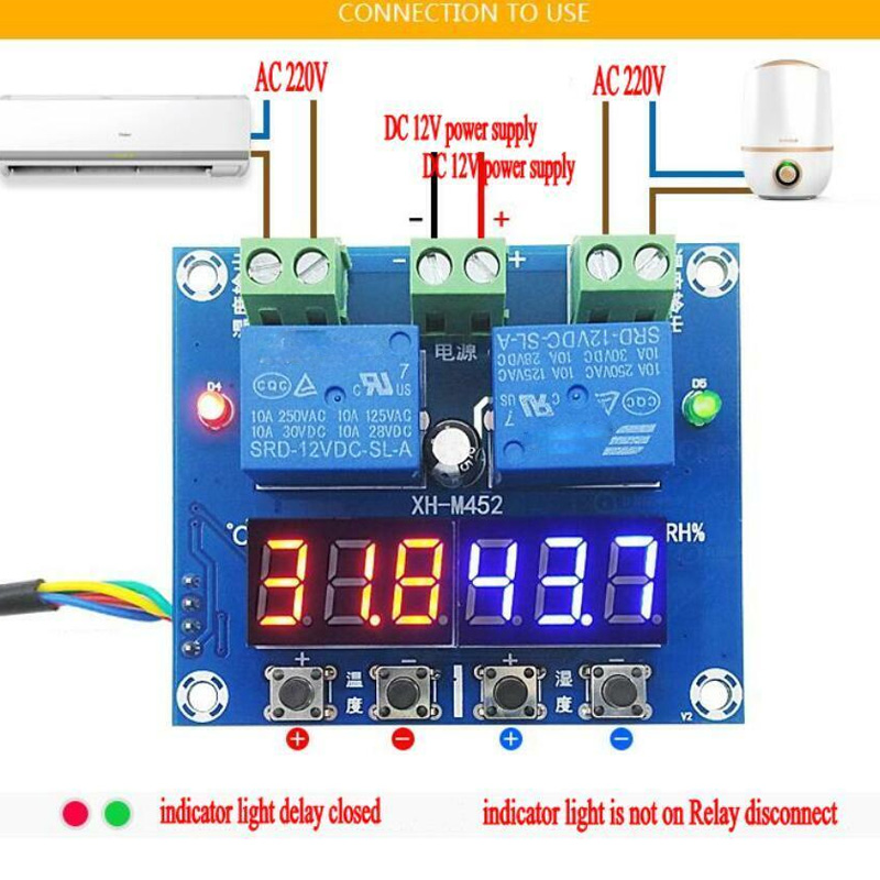 XH-M452 DC 12V Digital Thermostat Temperature Humidity Control LED Hygrometer Thermometer Controller Relay Module NC99