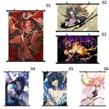 Japanese Anime Demon Slayer: Kimetsu No Yaiba Kamado Tanjirou Kamado Nezuko Wall Scroll Poster Wall Hanging Poster Home Decor недорого