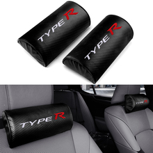 Car Styling TYPE R Emblem Carbon Fiber Car Seat Headrest Cushion For Honda Civic Accord CR-V XR-V HR-V Auto Interior Accessories