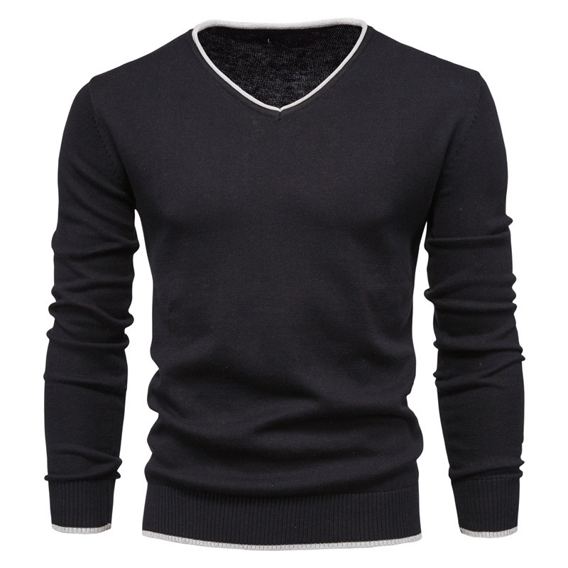 Men's Cotton Autumn Solid Color Long Sleeve Sweater Pullover Youth V-Neck Warm Sweater 4