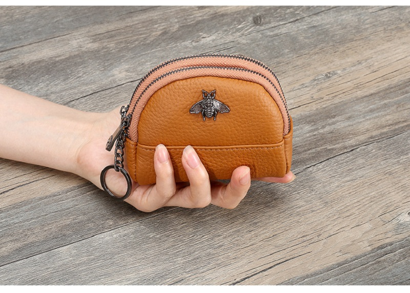 Cow Coin Purse Wallet Woman Card Genuine Leather Change Purses Double Zipper Shell Key Ring Ladies Leather Wallets Coin Bag
