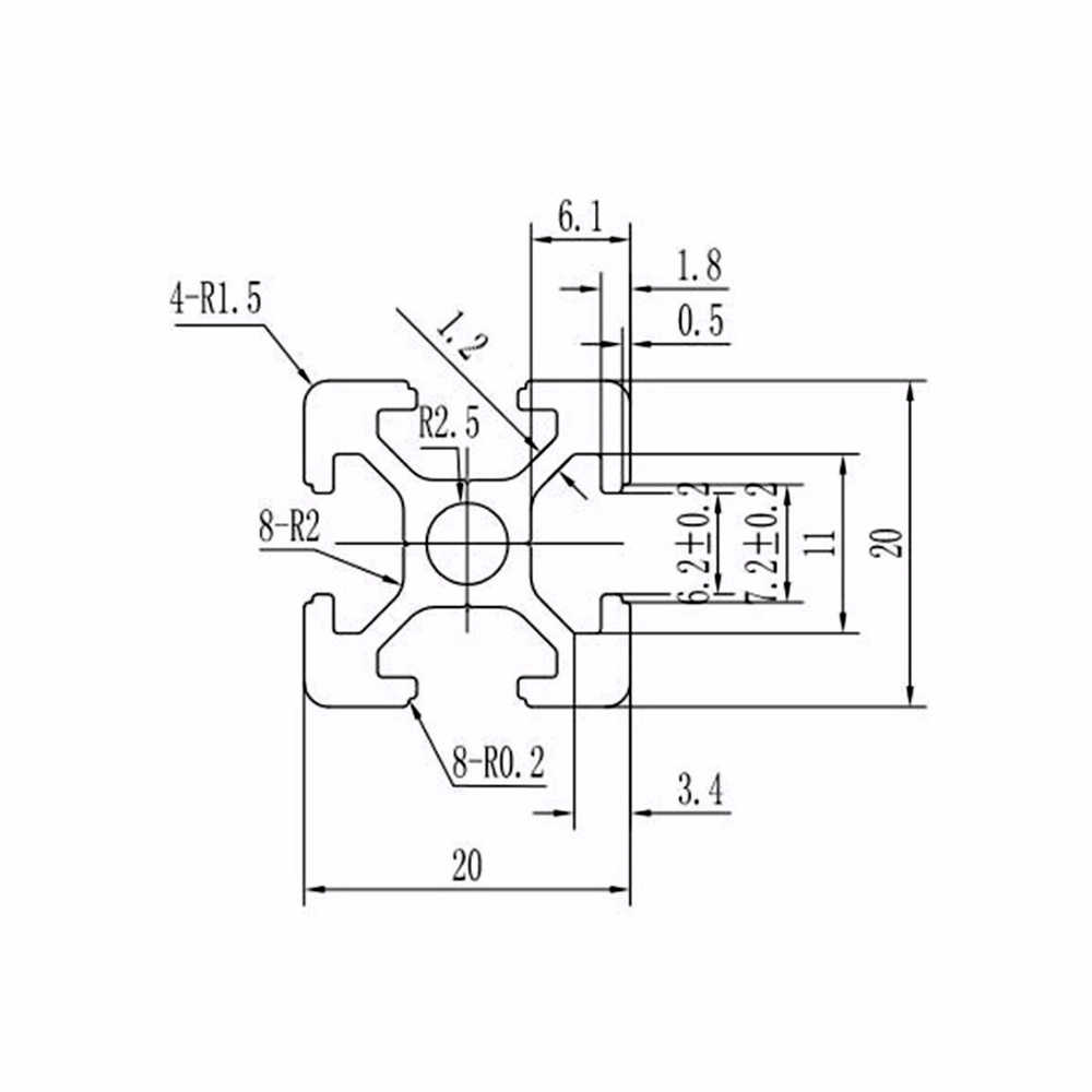 4 ชิ้น/ล็อต 2020 อลูมิเนียมโปรไฟล์ Extrusion 100 มม.ถึง 800 มม.ความยาว Linear Rail 200 มม.400 มม.500 มม.สำหรับ DIY 3D เครื่องพิมพ์ Workbench CNC