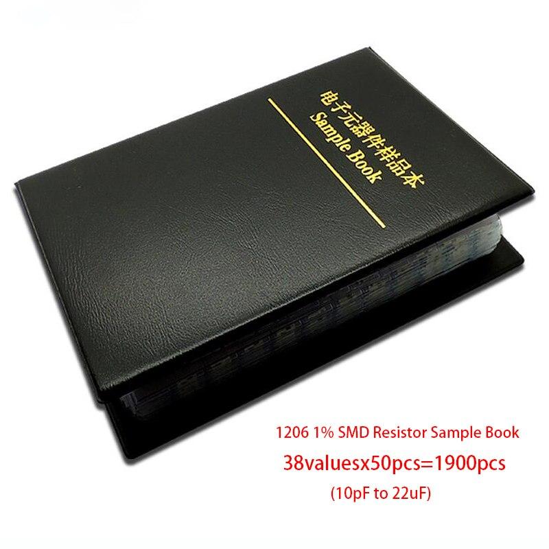 1206 SMD SMT Чип конденсатор, образец, набор в ассортименте, 38 ценностей x 50 шт. = 1900 шт. (от 10 пФ до 22 мкФ