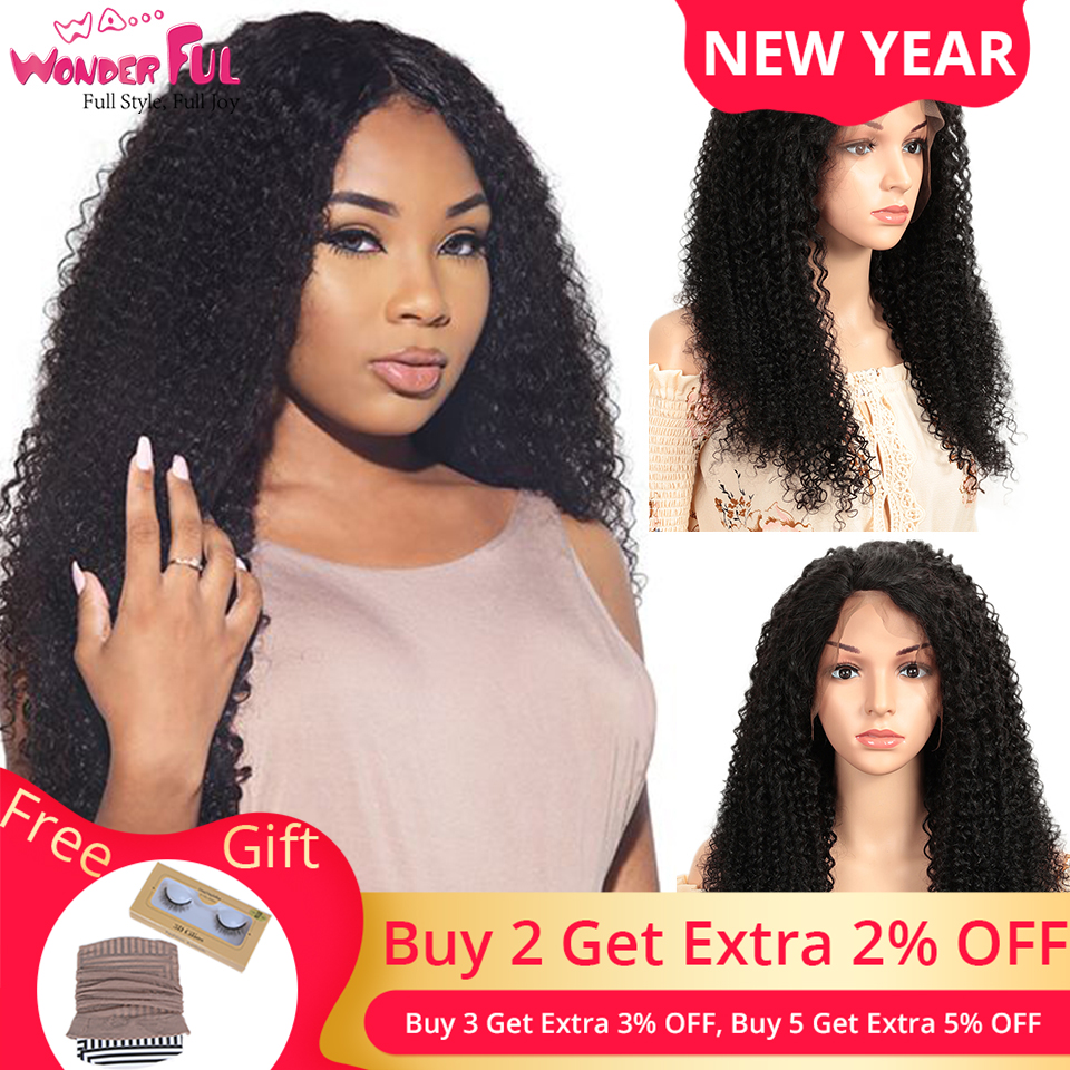 WA...WONDERFUL Kinky Curly 13X4 Lace Front Wig Remy Human Hair Wigs Natural Color 8-30 32 Inch  13X4 LACE Kinky Curly Lace Wig