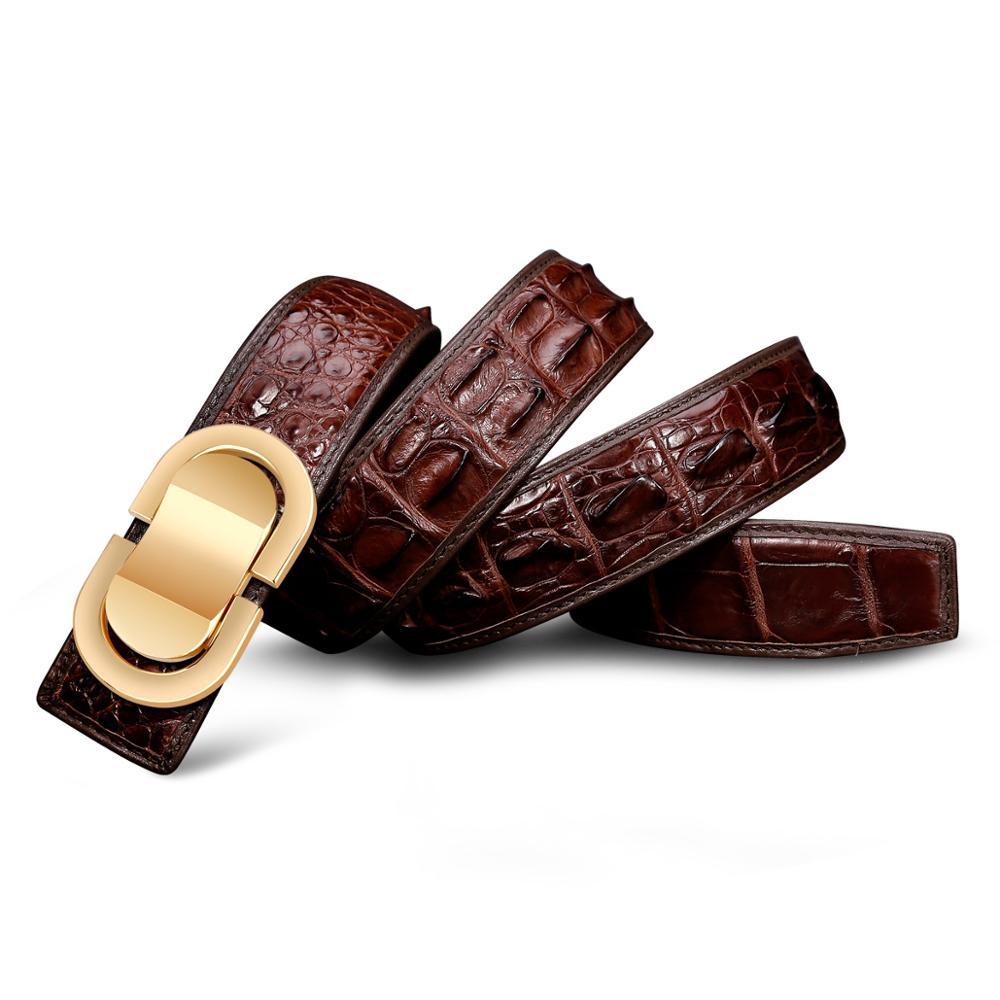 Männer Krokodil Leder Gürtel Heißer Designer Gürtel Männer Luxus Strap Mode Vintage Glatte Schnalle Gürtel - 4