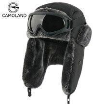 Inverno à prova dwaterproof água bombardeiro chapéus earflap russo ushanka com óculos de proteção das mulheres dos homens trapper piloto chapéu de pele do falso tampas de neve térmicas