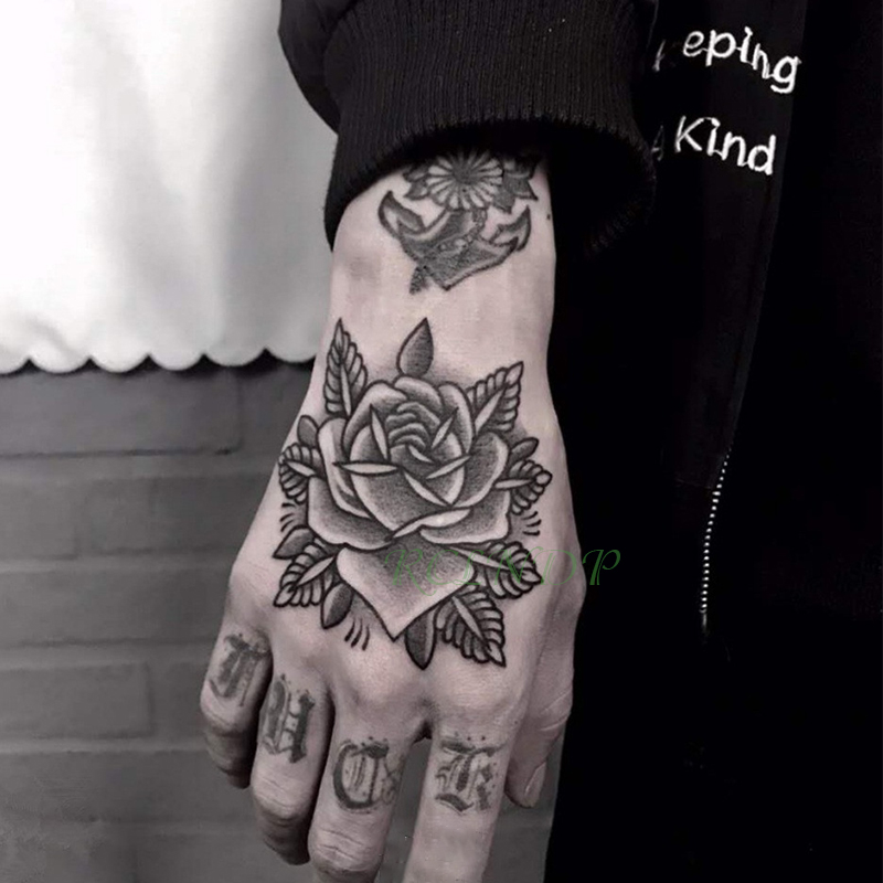 Waterproof Temporary Tattoo Sticker Rose Flower Hand Art  Flash Tatoo Fake Tattoos For Women Men