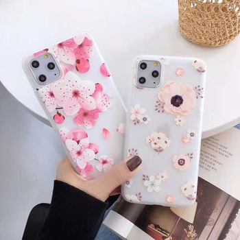 Luxury 3D Flowers Phone Case For iphone 11 pro max Case Soft TPU Cover For iphone 5 s 5s SE 6 s 6s 7 8 Plus XR XS Max Case Coque image