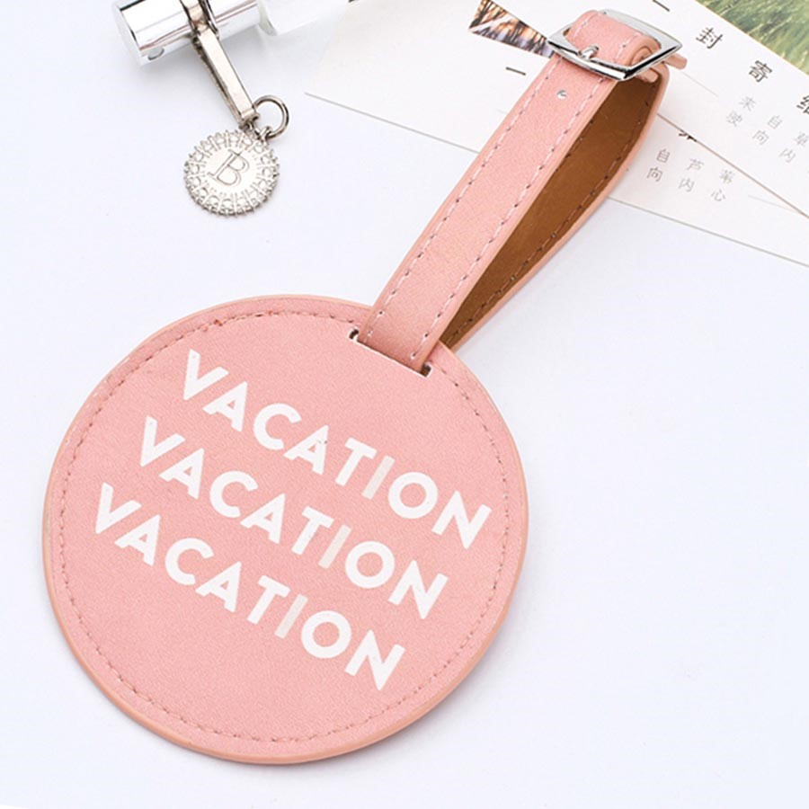 2020 New Round World Map Luggage Tag PU Leather Suitcase Label Letter Frozen Mountain Mans Women Luggage Tag Holder LT01D