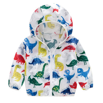 Summer Sunscreen Jackets Printing Hooded Outerwear Zipper Coats Toddler Kids Personality Soft Comfor