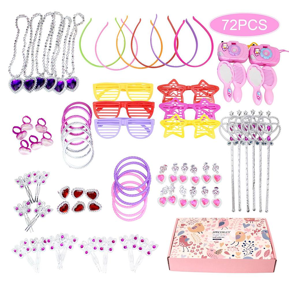 72Pcs/Set Princess Pretend Jewelry Necklace Fairy Wand Girl Dress Up Play House Children DIY Toy
