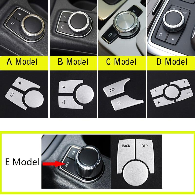 Mercedes için topasia B C E CLA GLA ML GL GLK sınıfı W176 W246 W204 W212 C117 X156 alüminyum araba multimedya düğmesi ayar kapağı Sticker