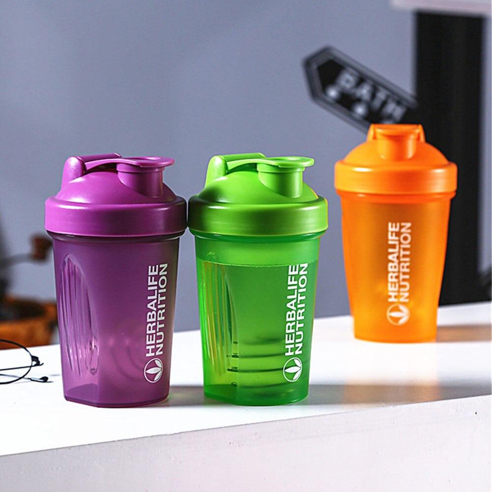 Botella de coctelera deportiva botella de mezcla de polvo de proteína de suero de 400ML botella de bebida de plástico portátil al aire libre agitador para gimnasio