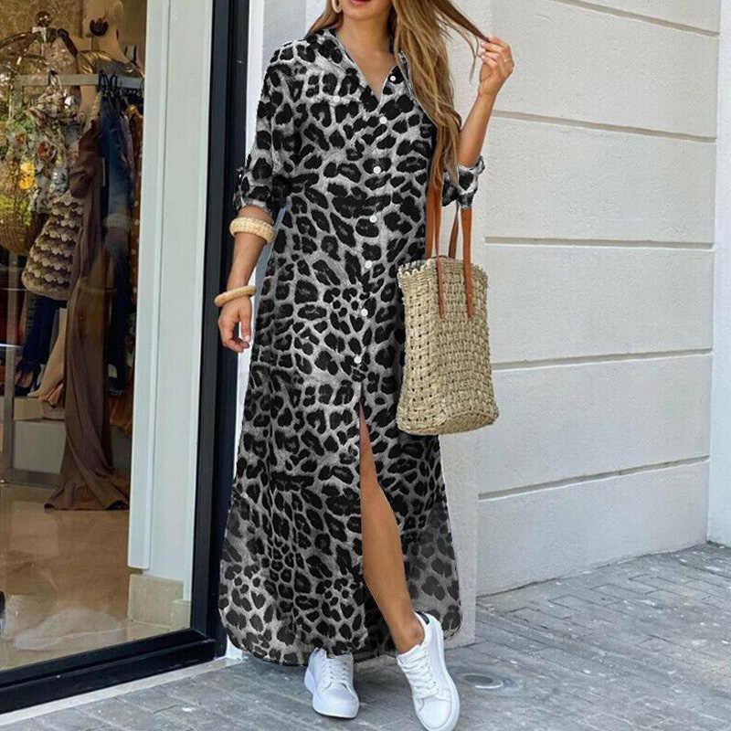 Vrouwen Elegant Revers Neck Button Down Jurk 2020 Zomer Brief Print Lange Jurk Casual Lange Mouw Dame Feestjurk vestido