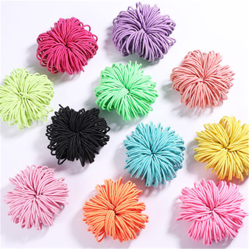 100PCS/Lot Girls Candy Colors Nylon 3CM Rubber Bands Children Safe Elastic Hair Bands Ponytail Holder Kids Hair Accessories New