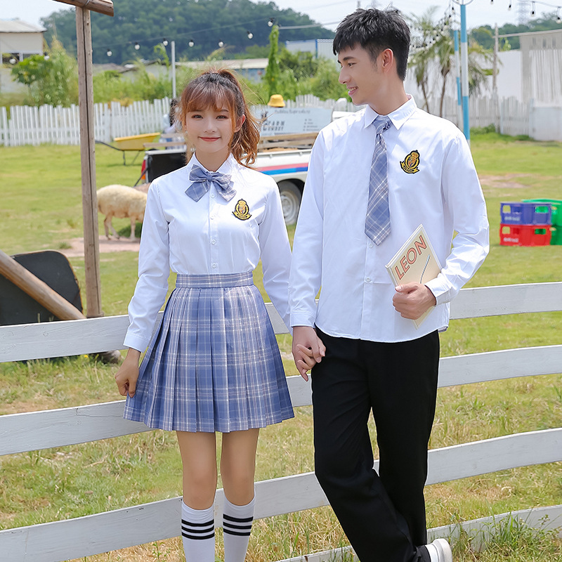 2020 Spring Autumn plus size New High School Uniform Korean Preppy Style Long Sleeve Shirt Skirts Suit JK Uniform Fashion