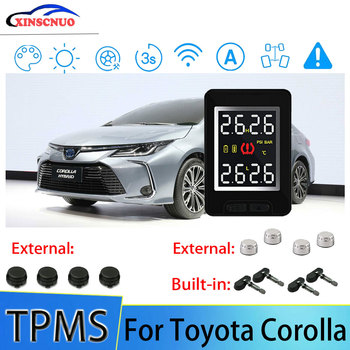 Smart Car TPMS Tire Pressure Monitor System For Toyota Corolla with 4 sensors Wireless Alarm Systems LCD Display TPMS Monitor tn400 wireless tire pressure monitoring tpms system monitor 4 internal sensors for renault peugeot toyota and all car free ship