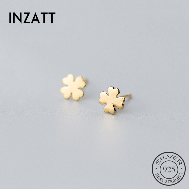 INZATT Real 925 Sterling Silver Minimalist Clover Stud Earrings For Fashion Women Cute Fine Jewelry Lucky Accessories Gift