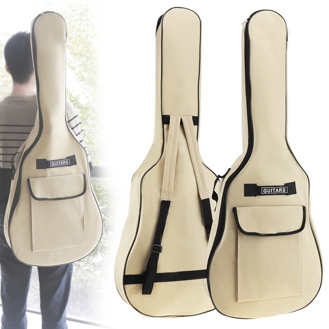 40/41 Inch Oxford Fabric Acoustic Folk Guitar Bag Case Gig Bag Double Straps Padded 5mm Cotton Soft Waterproof Backpack