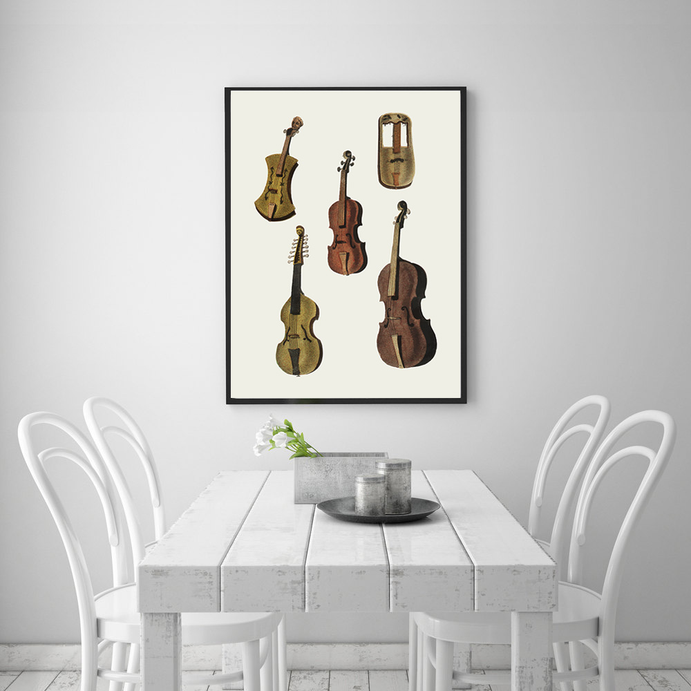 Poster Vintage Violin Minimalist Wall Art Canvas Painting Nordic Posters and Prints Wall Pictures for Living Room Home Decor