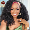 SVT Джерри вьющиеся парик с головной повязкой натуральный Цвет человеческие малазийские натуральные парики из натуральных волос для черный ...