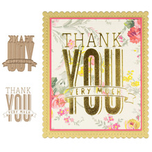 Thank You Very Much HOT FOIL PLATE Silver Metal Cutting Dies DIY Embossing Die Cut Scrapbooking Stencils Hot Stamping Foil