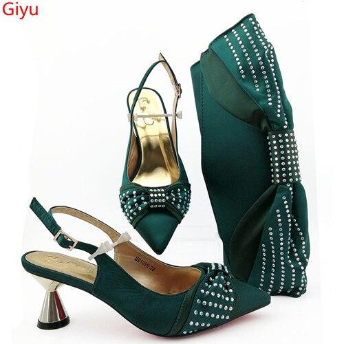 Doershow belles chaussures italiennes vertes avec des sacs assortis femmes africaines chaussures et sacs ensemble pour la fête de bal d'été sandale! SBZ1-32