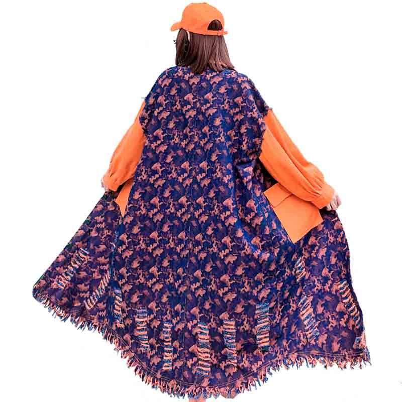 QING MO Green Orange Women Denim Coat 2020 Women Patchwork Color Coat Female Irregular Outwear With Tassel ZQY3035