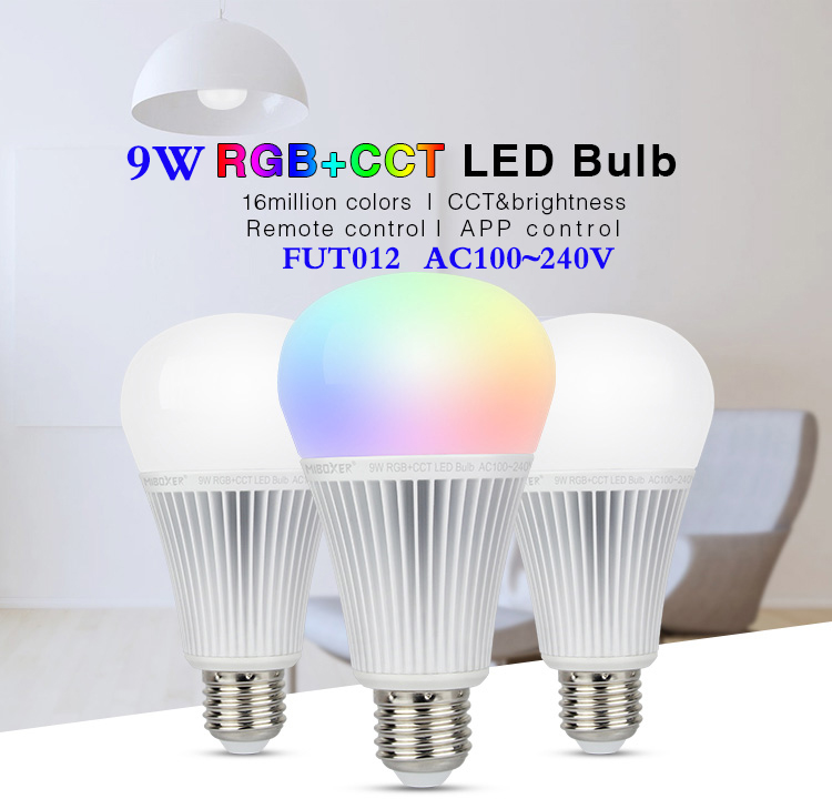 New arrival <font><b>FUT012</b></font> E27 9W RGB+CCT LED Bulb Spotlight AC 110V 220V Full Color Remote Control Smart Bulb Compatible 4-Zone Remote image