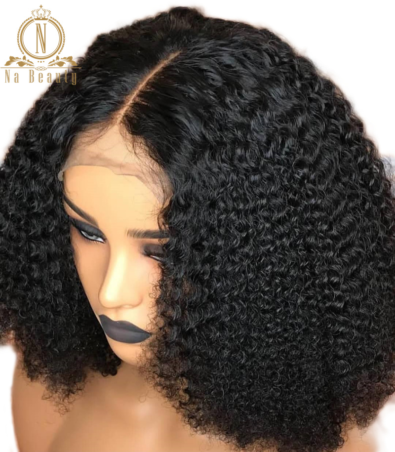 250% Density Afro Kinky Curly Lace Front Human Hair Wigs Pre Plucked With Baby Hair Lace Frontal Wig For Women Short Remy Hair