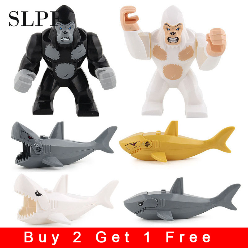 Building Blocks Compatible Legoing Educational Toys For Children Diy Kids Animal Shark Gorilla Assembly Model Set Brick лего N02