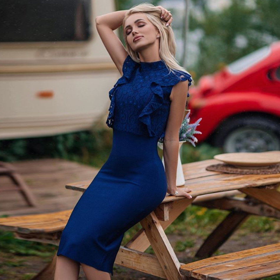 ADYCE Presale 2020 New Summer Women Blue Lace Bodycon Bandage Dress Sexy Sleeveless Ruffle Celebrity Runway Party Dress Vestidos