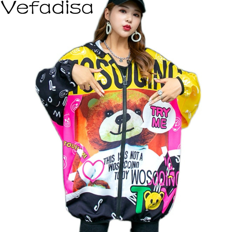 Vefadisa Cartoon Print Hooded Jacket Stitching Color Women Coat 2021 Spring Casual Letter Print Women Jacket Loose Red QYF3778 Jackets  - AliExpress