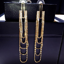 New fashion Korea silver earrings long super beauty with diamond stud earrings eardrop female temperament joker E001997 south korean needles flash with imitation pearl diamond earrings super shell earring eardrop female e001882 temperament
