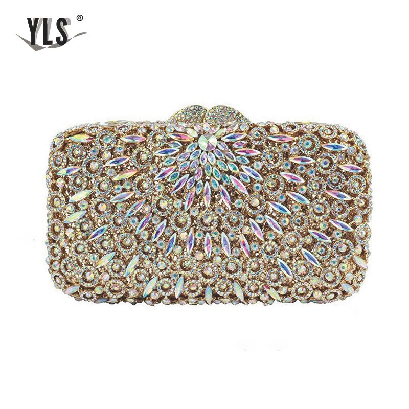 YLS Luxury Celebrity Evening Silver Diamond Clutch Women Bride Wedding Party Crystal Purses Handbag Sac Main Femme Fashion Bag