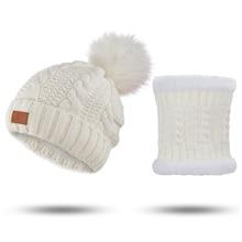 Winter Hat Scarf-Set Ring Skullcap Thicken Warm Kids Children MLTBB for 2pieces