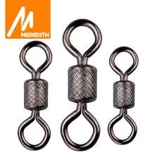 MEREDITH 50 pièces/lot roulement à billes pivotant solide anneaux connecteur de pêche océan bateau pêche crochets