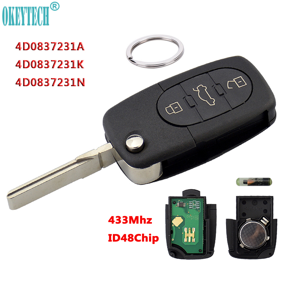 OkeyTech 433Mhz 3 Button Car Remote Key For AUDI 4D0837231A 4D0837231K 4D0837231N Flip Fold ID48 Chip For A3 A4 A6 A8 Old Models