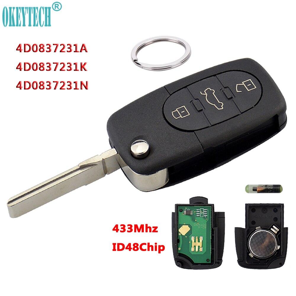 OkeyTech 433Mhz 3 Taste Auto Remote Schlüssel für AUDI 4D0837231A 4D0837231K 4D0837231N Flip Falten ID48 Chip für A3 A4 a6 A8 Alte Modelle