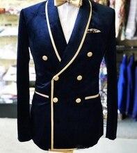 Real foto doble botonadura chal solapa Nvay terciopelo boda novio esmoquin hombres fiesta Blazer Prom trajes de negocios (chaqueta + Pantalones + arco
