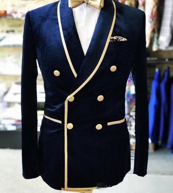 Veste + pantalon + nœud, châle à Double boutonnage de Photo réelle, revers en velours, Nvay, Tuxedos de marié pour hommes, costumes daffaires de fête (veste + pantalon + nœud