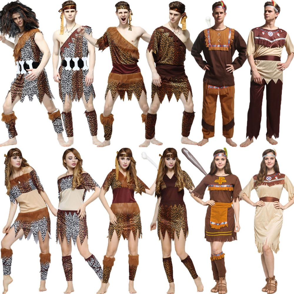 Umorden Halloween Costumes Adult Indian Primitive Macho Caveman Costume For Men Women Purim Party Mardi Gras Fancy Dress WSJ810