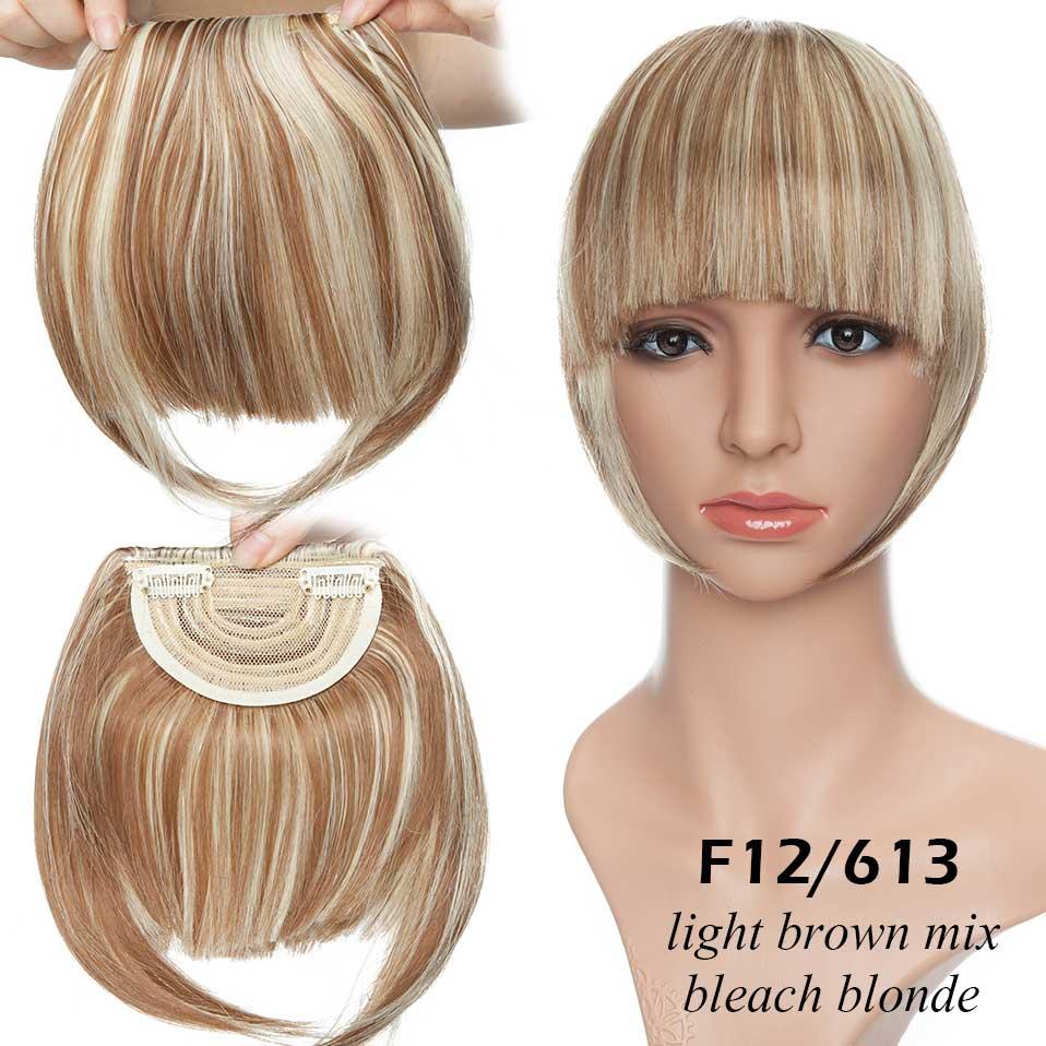SNOILITE короткие передние тупые челки Клип короткая челка волосы для наращивания прямые синтетические настоящие натуральные накладные волосы - Цвет: 12-613