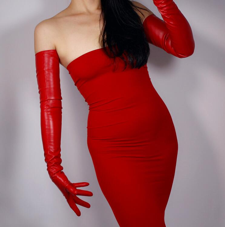 Women's Fashion Sexy Slim Faux Pu Leather Glove Lady's Club Performance Formal Party  Leather Long Red Glove 70cm R1962