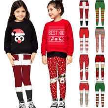 Teen Kids Christmas Clothes Children Girls 3D Print Christmas Xmas Princess Pants Leggings Clothes Outfits ensemble fille 2020(China)