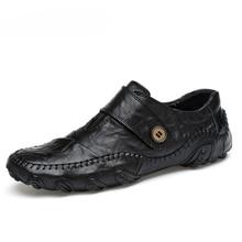 Туфли мужские из натуральной кожи, модные повседневные лоферы, Уличная обувь в британском стиле, зимние